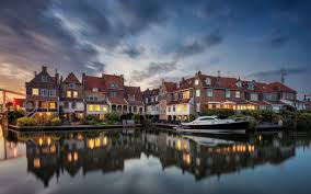Download Wallpapers Enkhuizen Evening Old Houses Netherlands