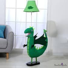 Dinosaur Fabric Standing Floor Light Cartoon 1 Bulb Green Stand Up Lamp For Kids Bedroom Beautifulhalo Com