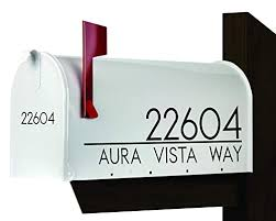Amazon Com Modern Mailbox Decal Set Of 2 Name Decal For Mailbox Mailbox Number Sticker Personalized Mailbox Decal Handmade