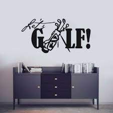 Removable Golf Wall Decal Let S Golf Quote Wall Sticker Sports Golf Club Wall Mural Home Decor Creative Golf Vinyl Decals Ay1406 Wall Stickers Aliexpress