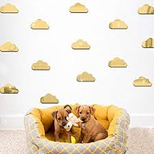Amazon Com 3d Clouds Diy Mirror Wall Stickers 10pcs Fluffy Clouds Wall Decals Removable Wall Sticker Home Decoration Art Mural Reflective Effect Cartoon Pattern Baby Kids Nursery Room Living Bed Room Baby