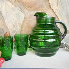 vintage green glass pitcher on wanelo
