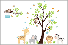 Pastel Colored Jungle Wall Decal Baby Room Stickers Amazon Animals Nurserydecals4you