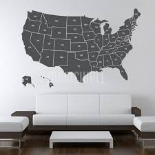 Usa United States Map With Name Of States Wall Decals Stickers Map Wall Decal Usa Map Wall Decal Removable Vinyl Wall Decals