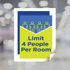 Limit 4 People Per Room Window Decal Plum Grove