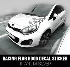 Racing Flag Hood Decal Sticker Silver For Kia 2010 2012 Rio 4door 5door