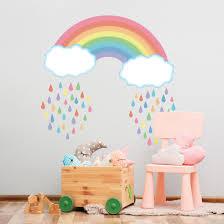 Pastel Rainbow With Raindrops Wall Decals Rainbow Wall Decal Nursery