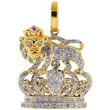 lion king crown pendant 10k yellow gold