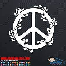 Peace Sign Symbol Flowers Car Window Decal Sticker Graphic