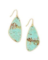 mckenna gold drop earrings in sea green