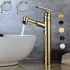 bathroom sink faucet with flexible pull
