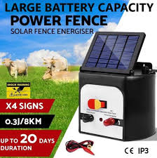 Solar Power Electric Fence Charger Energiser 8km 0 3j Crazy Deals Online