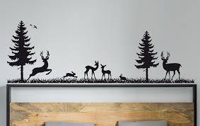 Union Rustic Deer And Pine Trees Wall Decal Wayfair