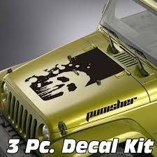 Jeep Wrangler 3 Pc Splatter Punisher Style Skull Blackout Kit Skunkmonkey