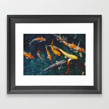 koi fish pond styled painting wall art