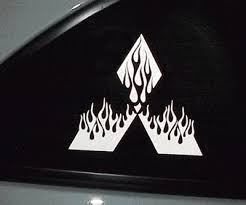 2 6 Tall Flaming Devil Logo Decal Decals Fit Any Mitsubishi 184 Grafx 14 00 House Of Grafx Your One Stop Vinyl Graphics Shop