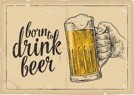 Hombre Mano Que Sostiene Un Vaso De Cerveza Ilustracion De La