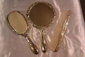 vintage brush and mirror dresser set