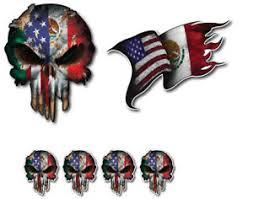 Mexican American Mexico Usa Flag Skull Vinyl Decal Window Sticker Car Truck 3m Ebay