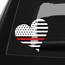 Thin Red Line Decal Back The Red Firefighter Car Decal Yeti Decal Heart Flag Firefighter Decor Fireman Flag Firefighter Decor Thin Blue Line Decal Police Decal