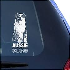 Amazon Com Aussie Clear Vinyl Decal Sticker For Window Australian Shepherd Dog Sign Art Print Arts Crafts Sewing