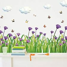 Amazon Com Wda Creative And Beautiful Butterflies Grass Flowers Wall Decals Living Room Bedroom Removable Pvc Wall Stickers Murals Baseboard Decals Home Kitchen