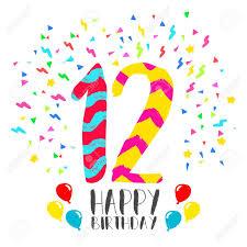Numero 12 Del Feliz Cumpleanos Tarjeta De Felicitacion Durante