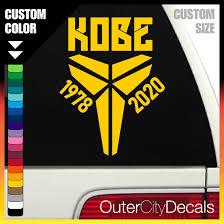Kobe Bryant Rip Custom Decal Vinyl Car Sticker Custom Laptop American Basketball Lakers Remembrance 24 Nba Gift Idea Memory Logo In 2020 Custom Decals Vinyl Car Stickers Stickers Custom