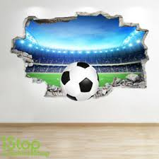 Football Wall Sticker 3d Look Boys Kids Bedroom Stadium Wall Decal Z667 Ebay