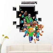 Large 3d Minecraft Wall Sticker 3d Vinyl Removable Wall Cling Decals Stickers Room Decor Walmart Com Walmart Com