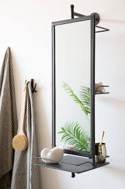 rotating wall mirror with shelves