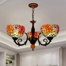 3 heads stained glass rose pendant lamp