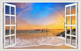 Amazon Com Rajahubri 3d Beach Wall Stickers Fake Window Wall Decals Seascape Of Rainbow Window View Wall Stickers Removable Sunset Wall Decal For Office Bedroom Kitchen Dining