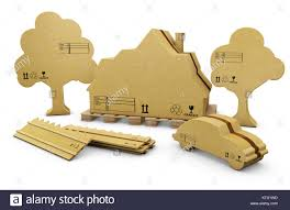 3d Illustration Of House Fence Car And Tree In Brown Cardboard Stock Photo Alamy
