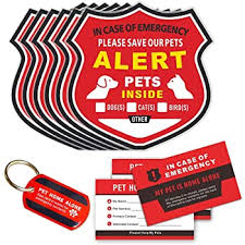 Amazon Com Pet Alert Stickers Save My Pets In Case Of Emergency Stickers Inside The Window Static Cling Window Decals 4 Pack Uv Resistant Removable No Adhesive Bonus Pet