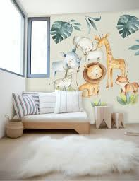 Kids Watercolor Safari Animals With Tropical Leaves Wall Decal Sticker Wall Decals Wallmur