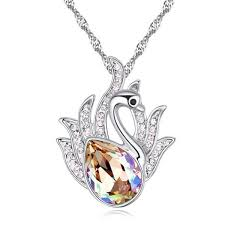 whole swan pendant necklace for