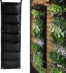 Amazon Com Becauseof Vertical Planter Bag 7 Pocket Hanging Fence Wall Garden Planter Grow Bags Garden Outdoor