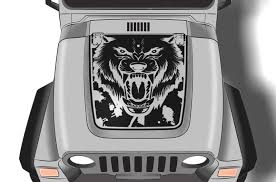 Jeep Wrangler 1999 2006 Custom Vinyl Hood Decal Kit Wolf Factory Crafts