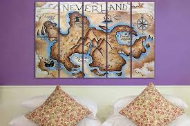 Neverland Canvas Map Wall Art Fantasy Maps Kid Map Game Room Etsy