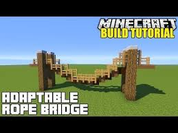 Minecraft How To Build A Hanging Rope Bridge Tuto Bridge Build Hanging Minecraft Rope Tuto Minecraft Treehouses Minecraft Tree Minecraft Bridges