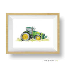 Green Tractor Art Print Kids Room Decor Farm Print Little Splashes Of Color Llc