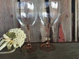 2 vintage pink wine glasses french