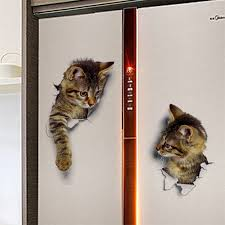 Wall Sticker Vinyl Cute 3d Kitten Cat Bedroom Fridge Decal Home Mural Art Decor