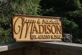 custom wood sign carved last name