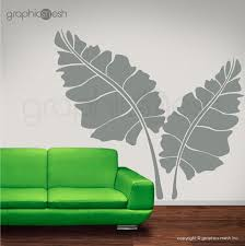 Cool Two Over Sized Large Leaves Wall Decals Floral Removable Interior Art Graphicsmesh