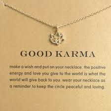 18k gold lotus necklace good karma boho