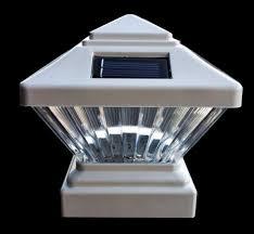 4 In X 4 In Pvc Vinyl Square Fence Post 2 Pk White Solar Led Cap Light For