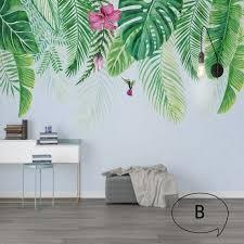 Tropical Green Leaves Wallpaper Wall Mural Watercolor Fresh Etsy Tropical Home Decor Tropical Decor Tropical Interior