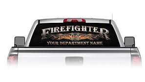 Weston Ink See Through Rear Window Decal Personalized Firefighter